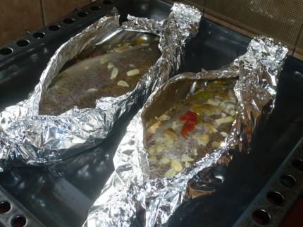 Oven-baked, stuffed fish